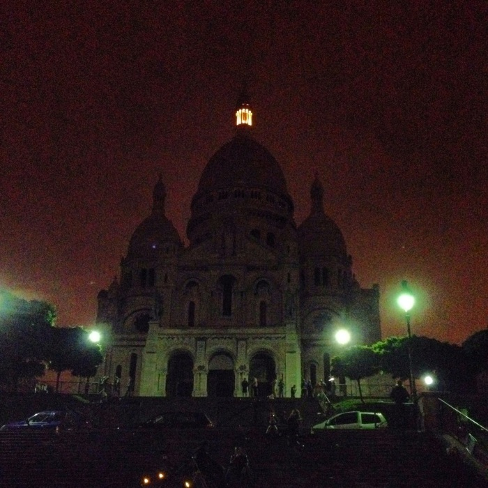 Sacre-Coeur at night.